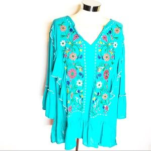 NWT Grand & Greene embroidered floral ruffle top